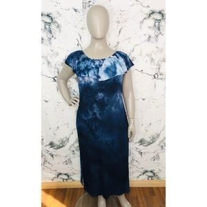 Penningtons In Every Story Tie Dye Off The Shoulder Maxi Dress Blue